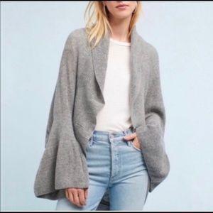 Sleepin on Snow Gray ruffle sleeve Cocoon Sweater